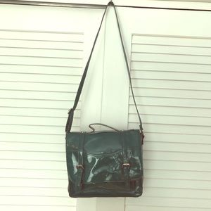 Green Faux Patent Leather Satchel